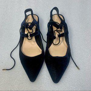 Zara Navy Blue Velvet Lace Up Slip On Block Heels!